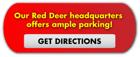 Our Red Deer headquarters offers ample parking! Get Directions